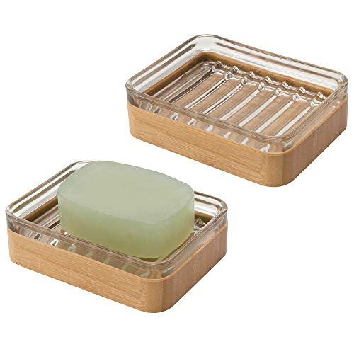 mDesign Set da 2 Portasapone design in bambù e vetro – Elegante vaschetta per sapone ecologica – Porta sapone per il bagno e la cucina – color bambù e trasparente