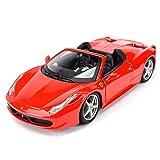 Maquetas de Coches 1:24 Ferrari 458 Spider Coche Deportivo Estático Vehículos De Fundición Modelo Coleccionable Juguetes De Coche