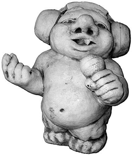 gartendekoparadies.de Massive Steinfigur lustiger Troll DJ Rock Mich! aus Steinguss frostfest