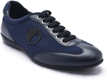 Versace Collection Men s Leather Suede Low Top Sneakers Shoes Blue US 8 IT 41 product image