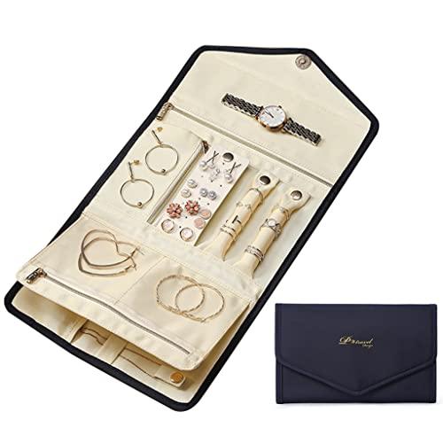 LIZHILIAN Organizador de joyas de viaje Poratble organizador plegable para pendientes, pulsera y pendientes, collares, anillos, relojes, contenedor de almacenamiento