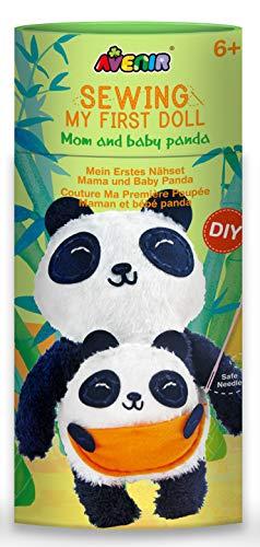 Avenir AVE10048 DIY Nähset, Sewing Panda, Bastelset für Kinder, Kreativ-Set, ab 6 Jahren