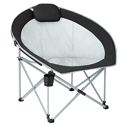 FUNDANGO Oversized Mesh Moon Saucer Camping Chair, Folding Portable Round Chairs for Adults with Headrest, Cup Holder, Carry Bag for Outdoor Hiking, Fishing, Picnic, Camp, Lawn
