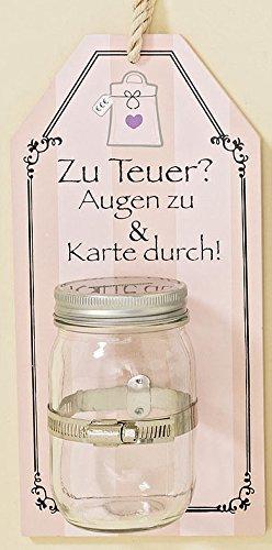 Hucha con Cartel de Pared Tarro de Cristal 29cm (Zu Teuer) Demasiado caro
