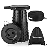 Boreeman Upgraded Folding Stool with Cushion Lightweight Yet More Sturdy with Load Capacity 400lbs Portable Collapsible Stool Retractable Stool for Camping Fishing Hiking BBQ (Black)