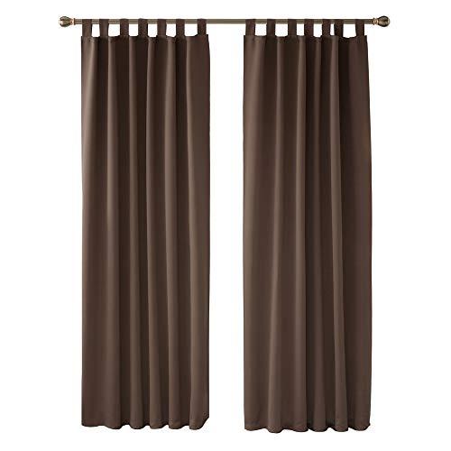 Deconovo Cortinas de Salon para Ventana Habitación con Aislamiento Térmico Anti Ruido con Trabillas 2 Paneles 140 x 175 cm Marrón