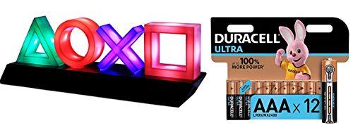 Paladone PP4140PS - Lámpara Playstation, Multicolor + Duracell - Ultra AAA con...