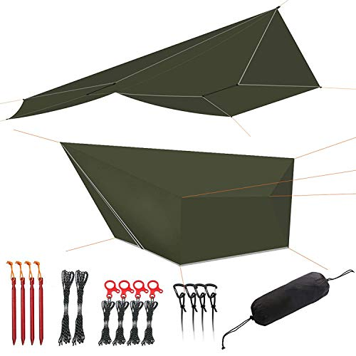 onewind 12ft Large Tarp Hammock Rain Fly Silnylon Camping Shelter Waterproof Ulralight Rainfly with Doors,Tieouts, Guyline Stakes ,Tensioners Accessory Included