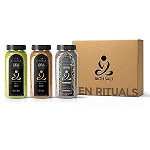 Set de sales de baño Zen Rituals Aceites esenciales Árbol de té, Sales marinas Minerales Aceites esenciales Naranja y Sal de Epsom con hierbas medicinales - Pack 3 botellas, 3 kg