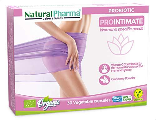 NaturalPharma ProIntimate Probiotic. Feminine Intimate Care. Cranberry + Vitamin C. Smart BioCaps Capsules. Organic Certification (Gluten & Lactose Free, Vegan).