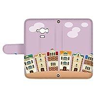 スマQ AQUOS SERIE mini SHV31 国内生産 カード スマホケース 手帳型 SHARP シャープ アクオス セリエ ミニ 【E.パープル】 町並み イラスト ami_vd-0252