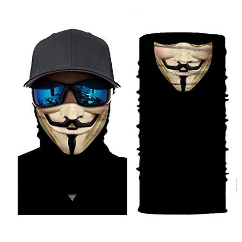 We are Anonymous Balaclava Face Sun Mask Skull Pattern Headwear Neck Gaiter for Men Tube Dust Mask Sun UV Dust Wind Proof (Beige)