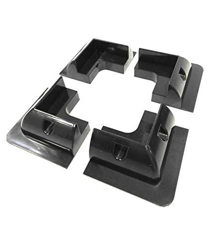 SolarV - Alerón de sujeción de panel solar ABS para autocaravanas y barcos (juego de 4 perfiles de esquina 160 mm x 160 mm), color negro