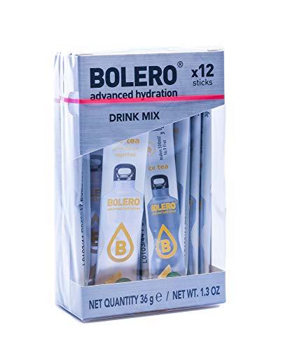 Palitos de bolero - 12 x 3 g - suficiente para x 0,5 litros de bebida sin azúcar ni dióxido de carbono - sin aspartamo - endulzados con Stevia (Limón Té Helado)