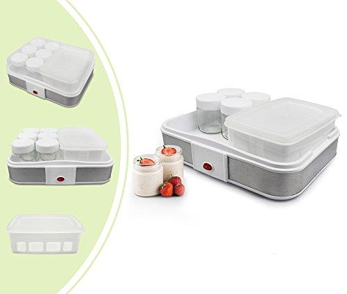 Leogreen - Yogurtera, Máquina para Yogur Natural y Saludable, tazón de fuente del yogur con el tamiz y 6 tarros, 30,6 x 25 x 12,4 cm, Capacidad por frasco: 0,21 L, Capacidad del recipiente: 1,5 L