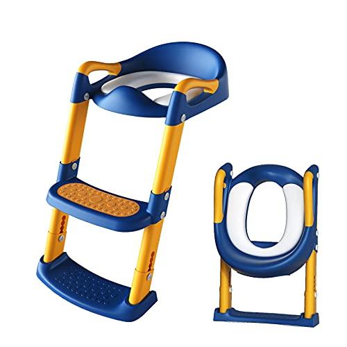 XJD 子供用 補助便座 幼児用おまる トイレトレーナー 子供 折りたたみ式 トイレトレーニング 踏み台つき 滑り止め 取っ手付き 柔らかいクッション 女の子 男の子 取外し可能 ステップ式(ブルー&イェロー)