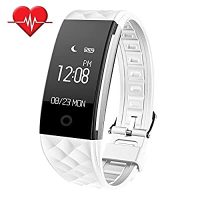SinoPro Fitness Tracker, Heart Rate Monitor Smart Bracelet, IP67 Waterproof Fitness Wristband with OLED Touch Screen, Step Tracker, Sleep Monitor, Call Reminder for iPhone Android Smartphones