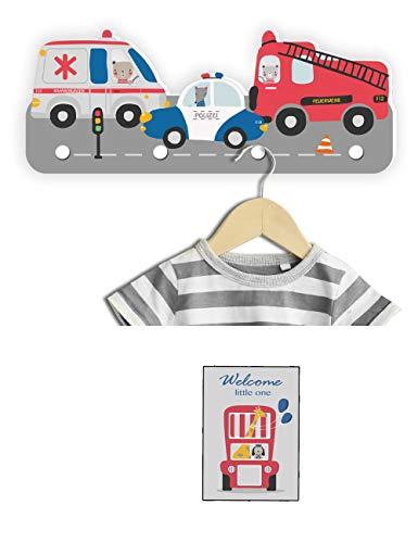 Kindsblick ® Rettungsautos Kindergarderobe in Bunt inkl. DIN A4 Poster - Garderobe mit 4 Kleiderhaken für Kinder - Wunderschöne Deko für jedes Kinderzimmer - Maße (38 x 15 x 1 cm)