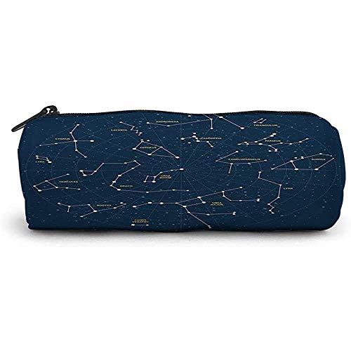 RGFDFi Organizer Pencil Case; Sternbild, Himmelskarte Andromeda Lacert Cygnus Lyra Hercules Draco Stiefel Stiefel Luchs, Dunkelblau Gelb Weiß