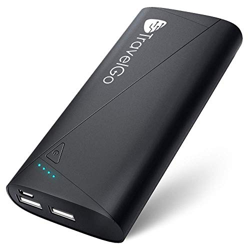 TravelGo Power Bank 10400mah, Certified Portable Travel Charger, Dual 2 USB Battery Pack, Carry Pouch Included, (Max 5V/2.1A Output, Li-Polymer) for iPhone 11 / XR / 8/7 / 6 / SE, Plus, iPad, Galaxy