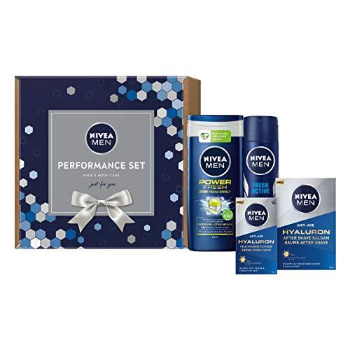 NIVEA MEN Performance Set, Geschenkset für den gepflegten Mann, Pflegeset mit After Shave Balsam, Anti-Falten Feuchtigkeitscreme und Pflegedusche