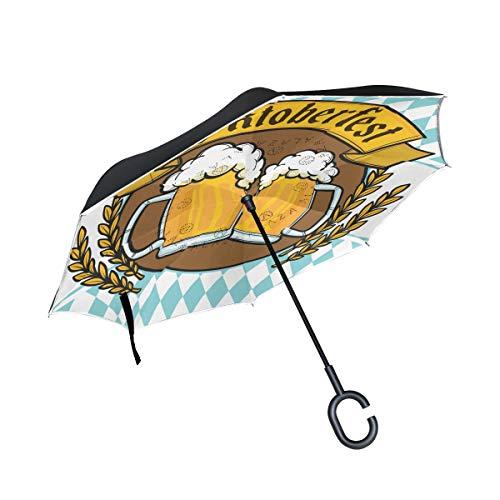 LINDATOP Regenschirm, Motiv: Oktoberfest, Wappen, Bier, umgekehrt, automatisches Öffnen, doppelschichtig, winddicht, UV-Schutz, umgekehrt, Regenschirm für Autoregen und den Außenbereich