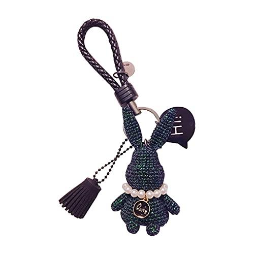 XIAOQIAO Llavero del Coche de Conejo, Colgante de Llave de automóvil, Decoraciones de Bolso de Conejo Lindo Tejido a Mano, Anillo de Llaves de Pulsera (Color : A01)
