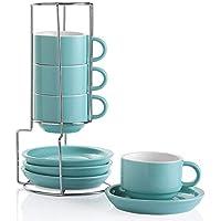 Set of 4 Sweejar Porcelain Espresso Cups with Saucers