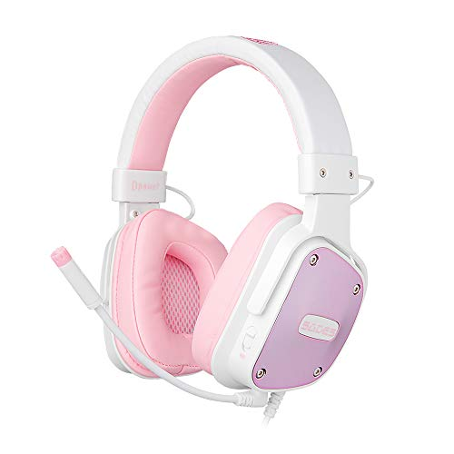 SADES [Angel Edition] DPOWER Over-Ear-Gaming-Headset, 3,5 mm Klinke, Stereo-Headset mit Mikrofon, Geräuschunterdrückung, für Nintendo Switch, PS4, Xbox One, Computer