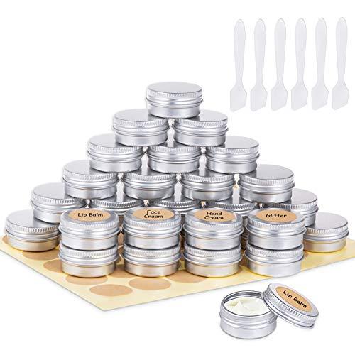 30 Piezas Tarros de Aluminio, Contenedores Cosmético de Viaje Envases de Vacío con Tapas de Tornillo para Cosmética Crema Muestra Polvo Decoración de Uñas, 15g 15ml