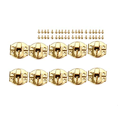 Antique Bronze Hinges 10Pcs Gold Jewelry Box Latches Hasps Lock Catch Latches for Jewelry Chest Box Suitcase Padlock Handbag Buckle Clip Clasp 27 * 29mm