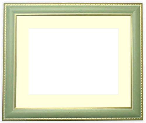 写真用額縁 9614/グリーン ハガキ(152×102mm) ガラス マット付 写真/9614/グリーン マット色:黒