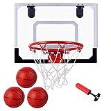 Fowecelt Mini Hoop, Over The Door Basketball Hoop Set for Door Wall Room with 3 Balls, Toy Basketball Hoop for Kids Teens Boys Girls(16' x 12')