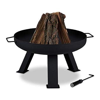 Relaxdays Fire Bowl Diameter 60 cm Including Poker, Garden & Patio Fire Pit, Round, Steel Fire Basket, Black by relaxdays