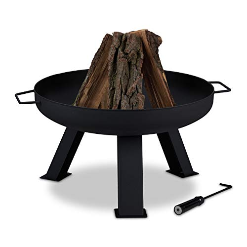 Relaxdays Feuerschale Durchmesser 60 cm, inkl. Schürhaken, Garten & Terrasse Feuerstelle, rund, Feuerkorb Stahl, schwarz