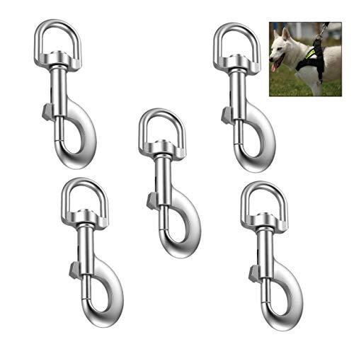 XLKJ 5Pcs Mosquetón Giratorio, 360 °Gatillo Giratorio, Clip de Perro para Perros Pequeños Multiusos Casa Acampar al Aire...