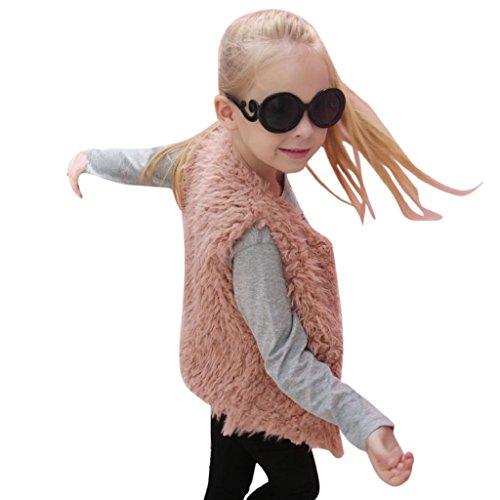 Longra Kinder Mädchen Herbst Winter Ärmellose Weste Kunstpelz Jacken Weste Warm Pelzweste Parka Mädchen Pelzjacke Outwear Wintermantel Woolmantel (3-8Jahre) (130cm 7Jahre, Pink)