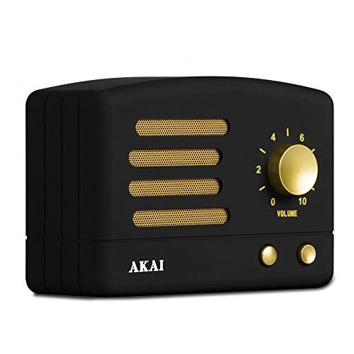 AKAI R50BT/BK - Altavoz Vintage, Bluetooth, bateria Recargable USB, Color Negro