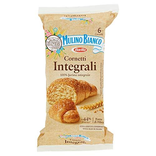 Mulino Bianco Cornetti Integrali per la Colazione e Snack Dolce per la Merenda, 6 Cornetti