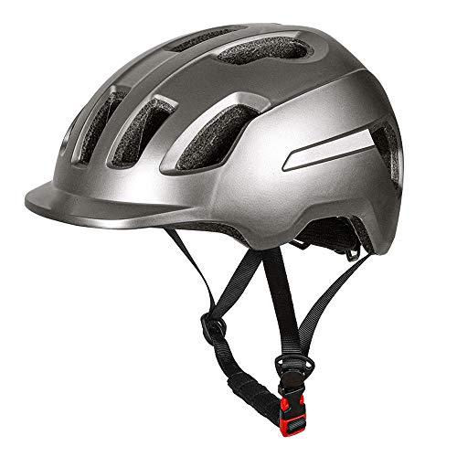 PIANYIHUO Casco de ciclistaCasco de Bicicleta de montaña con Visera, Ultraligero, Ajustable, Casco de Bicicleta, Unisex, Deportivo, Casco de Seguridad para Exteriores, Plateado