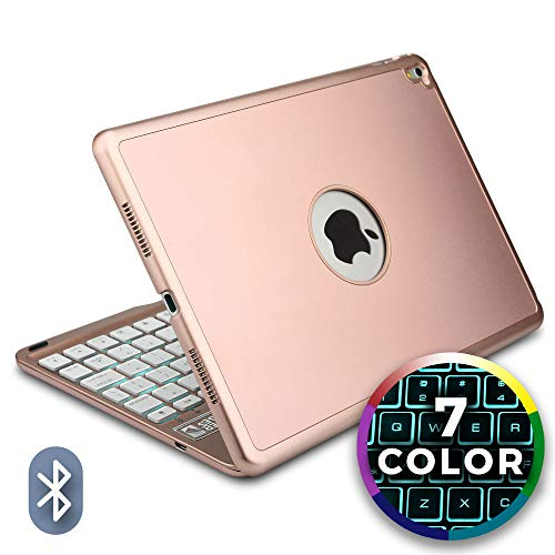 Cooper Notekee F8S Keyboard Case for iPad Air 2, iPad Pro 9.7 | Wireless Clamshell Cover, 60 Hour Battery, 7 Color LED Backlight (Rose Gold)