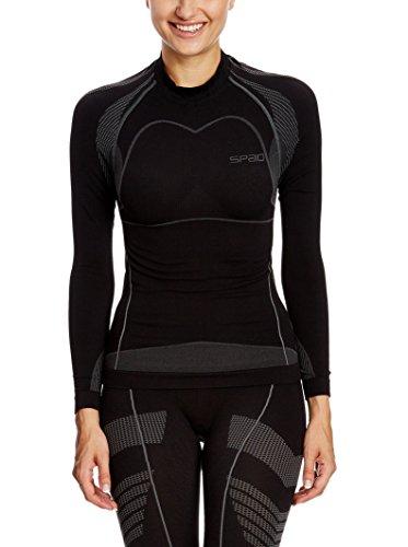 SPAIO Moto T-Shirt Manches Longues Femmes, Noir/Gris, XL