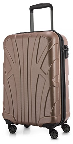 Suitline Handgepäck Hartschalen-Koffer Koffer Trolley Rollkoffer Reisekoffer, TSA, 55 cm, ca. 34 Liter, 100{82613941a97695c6ec9bb05f6d7564bce6cb1440e04a3b44d55021118f8c6b25} ABS Matt, Gold