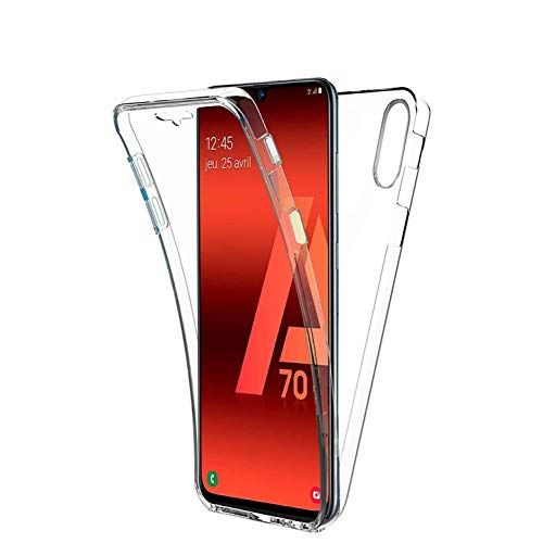 COPHONE - Funda para Samsung GALAXY A70 100% Transparente 360 Grados de protección Completa Delantera Suave + Trasera rígida. Funda táctil 360 Grados antigolpes para GALAXY A70.