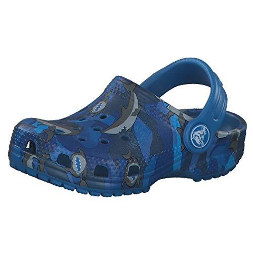 Crocs Kids' Classic Shark Clog | Slip On Shark Shoes for Boys and Girls, Prep Blue, C5 US Toddler