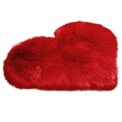 Alfombra Shaggy de Pelo Largo, laamei Felpudo Alfombra Antideslizante Lujosa Suave Cozy en Forma de Corazón Manta de Piel Sintética para Dormitorio, Sofá, Sala de Estar, Habitación