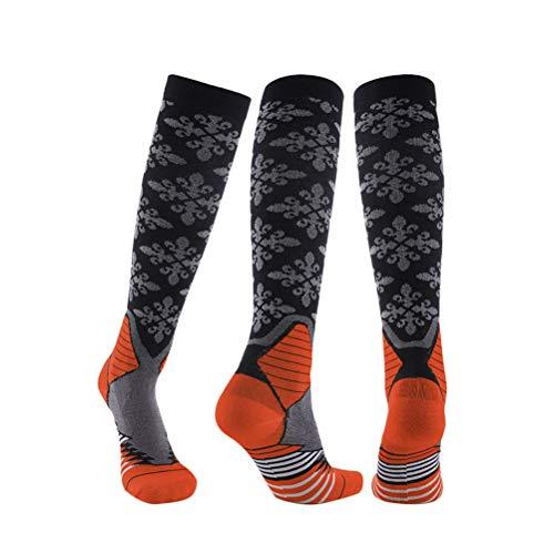 LIOOBO 1 Paar orange Lange, Kniehohe Kompressionssocken, atmungsaktive, schnell trocknende Fitness-Strümpfe für Outdoor-Aktivitäten mit athletischen Krampfadern