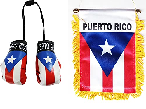 Puerto Rico Double-Sided Window Hanging Flag with Suction Cup and Mini Boxing Gloves