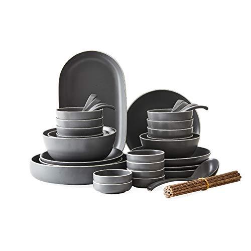 DNAN Estilo japones Vajilla de cerámica Gris Cuenco de Sopa/Palillos/Cuenco de arroz/Plato/Cuchara Juego de Cubiertos Retro para 8 Personas (tamaño : 42pieces)