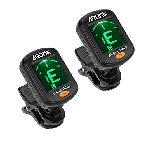 Meeland Guitar tuner 2 PACK, Clip On Tuner for Guitar/Bass/Violin/ukulele,Auto Power Off/One Button Operation/AT-01A/2 Set